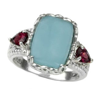 One-of-a-kind Michael Valitutti Cushion Cabochon Milky Aquamarine with Pearshaped Rhodolite Ring