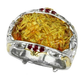 One-of-a-kind Michael Valitutti Quilted Carved Amber with Round Ruby and Quilted Detailing Ring
