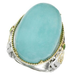 One-of-a-kind Michael Valitutti Milky Aquamarine with Round Chrome Diopside RIng