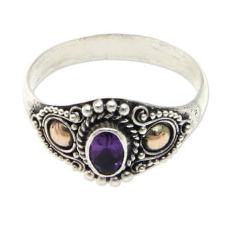 Handmade Gold Accented 'Mystic Trio' Amethyst Ring (Indonesia)