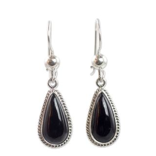 Handcrafted Sterling Silver 'Black Tear' Jade Earrings (Guatemala)