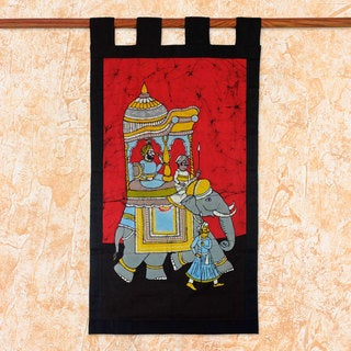Handcrafted Cotton Batik 'Royal Outing' Wall Hanging (India)