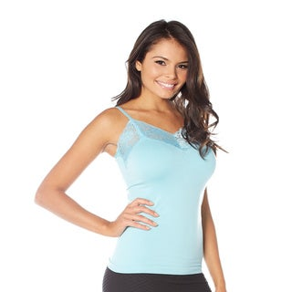 Rhonda Shear Delicate Div-Ahh Black/Blue/Off-white/Pink Nylon/Spandex Seamless Camisole With Lace