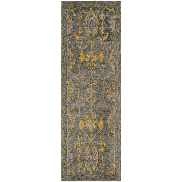 Safavieh Handmade Bella Blue Grey/ Gold Wool Rug (2' 3 x 7')