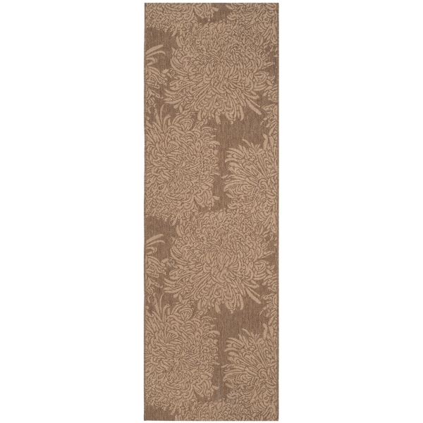 Martha Stewart by Safavieh Chrysanthemum Dark Beige/ Beige Indoor/ Outdoor Rug - 2' 7 x 8' 2