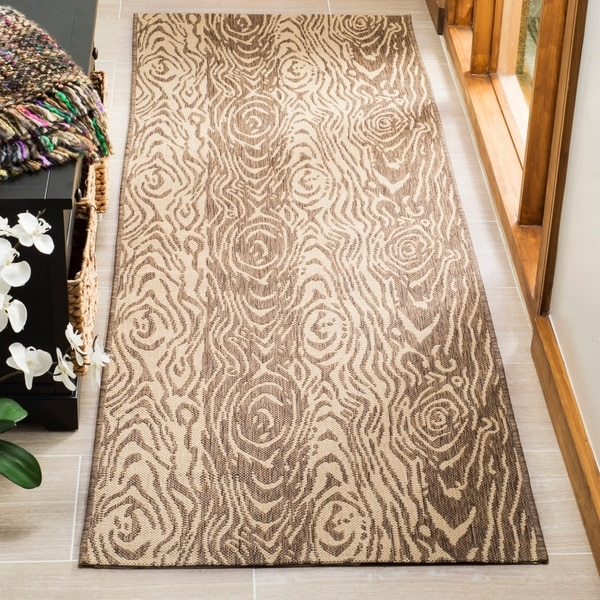 "Martha Stewart by Safavieh Layered Faux Bois Abstract Coffee/ Sand Rug - 2'7"" x 8'2"""