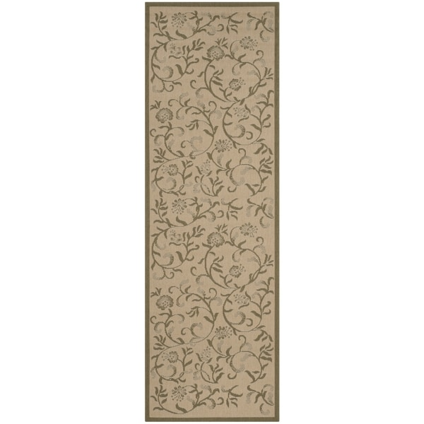 Martha Stewart by Safavieh Swirling Garden Cream/ Green Indoor/ Outdoor Rug (2' 7 x 8' 2)