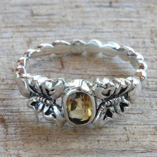 Handmade Sterling Silver 'Honey and Butterflies' Citrine Ring (Indonesia)