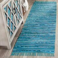 Safavieh Hand-Woven Rag Rug Turquoise/ Multi Cotton Rug - 2' 3 x 6'