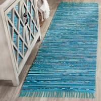 Safavieh Hand-Woven Rag Turquoise/ Multi Cotton Rug - 2'3 x 7'