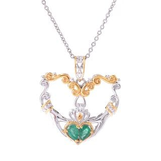 Michael Valitutti Pearshaped Emerald Heart Pendant with Chain