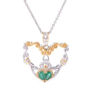 Michael Valitutti Pearshaped Emerald Heart Pendant with Chain|https://ak1.ostkcdn.com/images/products/11958026/P18843704.jpg?impolicy=medium