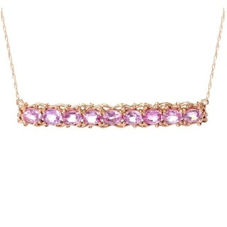 14K Rose Gold Michael Valitutti Pink Sapphire Bar Necklace