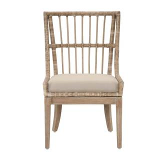 Gray Manor Sidney Distressed Tan Mahogany/Fabric/Rattan Dining Chairs (Set of 2)
