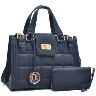 Dasein Quilted Satchel with Buckled Details & Zip Around Emblem Wallet