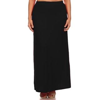 Jed Fashion Women's Plus Size Elastic-waist Maxi Skirt