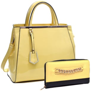 Dasein Patent Faux Leather Tote with Gold-Tone Accent & Gold-Tone Chain Faux Leather Zip Around Wallet