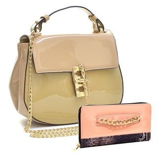 Dasein Patent Leather Crossbody Handbag with Pin and Clasp-Fastening Front Flap & Gold-Tone Chain Faux Leather Zip Around Wallet