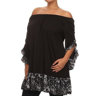 MOA Collection Women's Plus Size Ruffled Tunic
