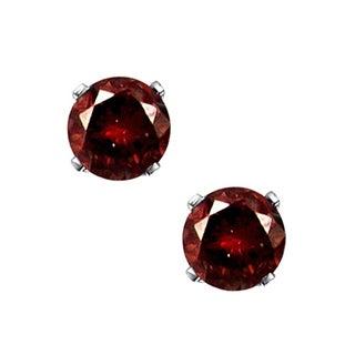 JewelMore 14k White Gold 1/10ct TDW Red Diamond Stud Earrings