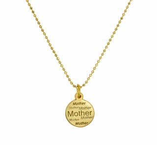 Sterling Essentials Italian Silver Adjustable Mother Charm Necklace ( 15-22 Inch ) - Yellow