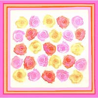 Dolores Piscotta Multicolored Silk Roses Scarf