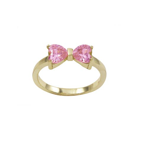 Luxiro Gold Finish Sterling Silver Light Pink Cubic Zirconia Heart Bow Children's Ring