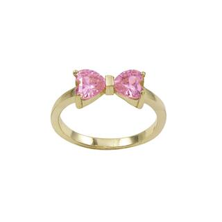 Luxiro Gold Finish Sterling Silver Light Pink Cubic Zirconia Heart Bow Children's Ring|https://ak1.ostkcdn.com/images/products/11958526/P18844026.jpg?impolicy=medium