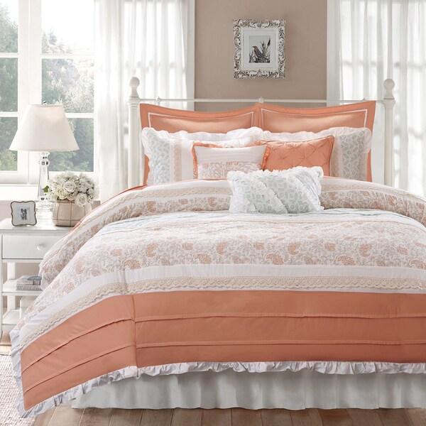 Madison Park Vanessa Coral 9-piece Cotton Percale Duvet Cover Set