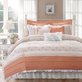 Madison Park Vanessa Coral 9-piece Cotton Percale Duvet Cover Set