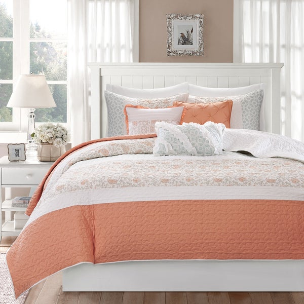 The Grey Barn Sleeping Hills 6 Piece Coral Cotton Percale Quilted Coverlet  Set