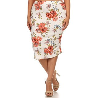 MOA Collection Women's Plus-size Floral Pencil Skirt