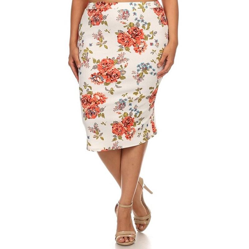 3b767275b3a MOA Collection Women s Plus-size Floral Pencil Skirt