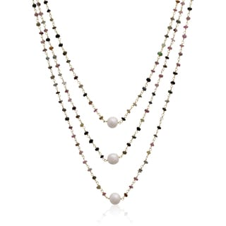 41 Carat Pink Tourmaline and Pearl Triple Strand Necklace In 14K Yellow Gold Over Sterling Silver, 2