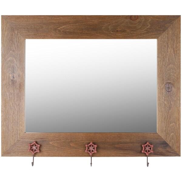 Hobbitholeco. 29x37 Brown Wash Mirror With Orange Tap Hangers (Inner mirror 20X28)