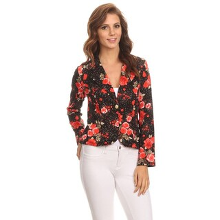 MOA Collection Women's Floral Polyester/Spandex Blazer Jacket