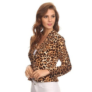 MOA Collection Women's Blazer-Style Animal Print Polyester/Spandex Jacket