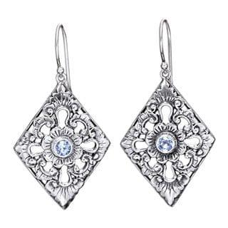 Handmade Sterling Silver 'Blue Padma' Blue Topaz Earrings (Indonesia)