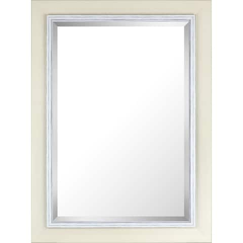 Hobbitholeco. 31.25x43.25 White Wash Hand Stained Frame With Liner Beveled Mirror (Inner mirror 24X36) - White Washed