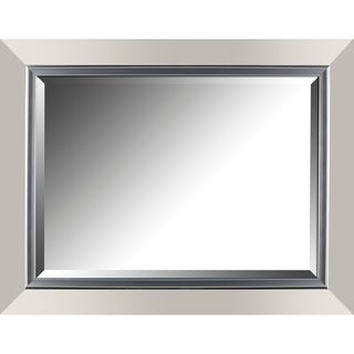 Hobbitholeco. Silver 27.25-inch x 35.25-inch Leaf Gradient Frame With Liner Beveled Mirror (20-inch x 28-inch Inner Mirror)