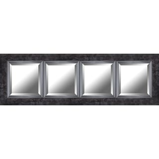 Hobbitholeco. Black 19.25 x 60.75 Marble Style Frame with Liner Beveled Mirror (4 Inner Mirrors 12 x 12 Each)