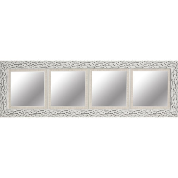 White Bark 18 X 60 Inch Quadruple Opening Mirror With 12