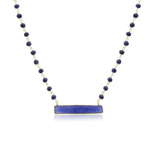 36 Carat Blue Sapphire Bar Necklace In 14K Yellow Gold Over Sterling Silver, 18 Inches
