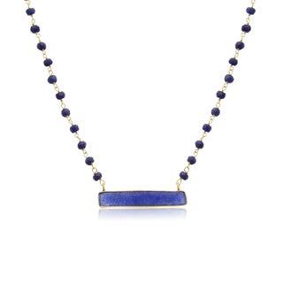 Yellow Gold Over Sterling Silver 36ct TGW Blue Sapphire Bar Necklace