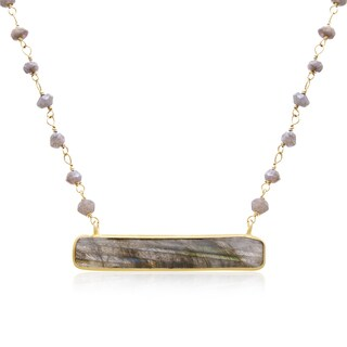 36 Carat Labradorite Bar Necklace In 14K Yellow Gold Over Sterling Silver, 18 Inches