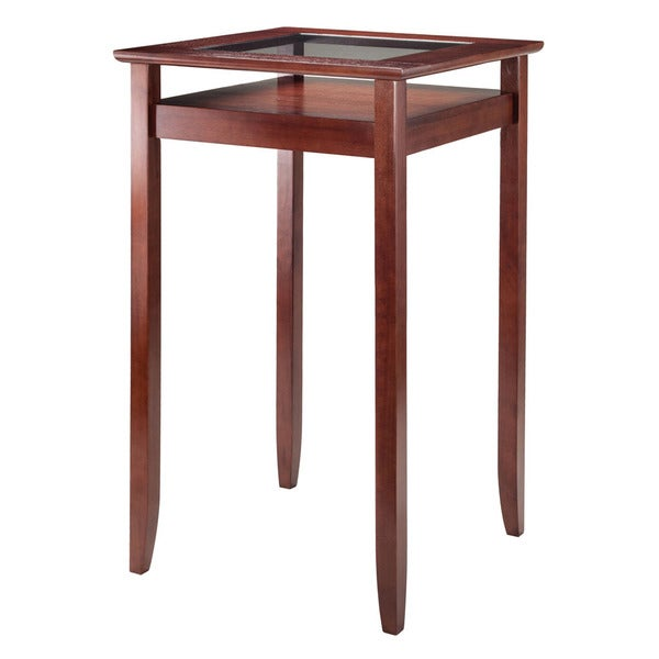 Winsome Halo Walnut Finish Wood/Tempered Glass Pub Table With Shelf