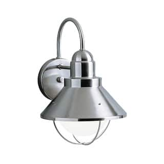Kichler Lighting Seaside Collection 1-light Brushed Nickel Outdoor Wall Lantern|https://ak1.ostkcdn.com/images/products/11959047/P18844668.jpg?impolicy=medium