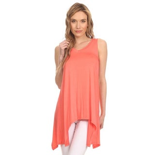 MOA Collection Women's Solid Relaxed Sleeveless Tunic