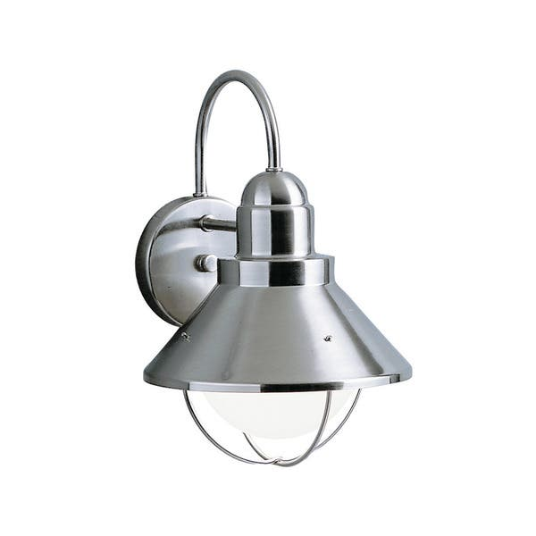 Kichler Lighting Seaside Collection 1 Light Brushed Nickel Outdoor Wall Lantern Overstock 11959061