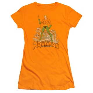 DC/Aquaman Distressed Junior Sheer in Orange